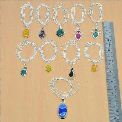 Wholesale 10Pc 925 Silver Plated Faceted Emerald & Mix Stone Pendant & Chain Lot