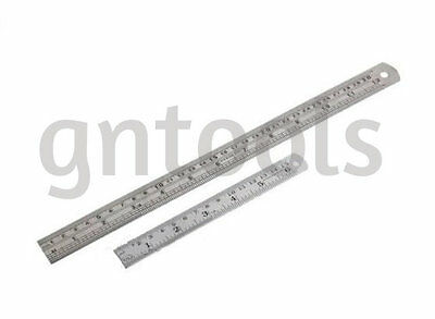 """6"""" & 12"""" (150 & 300mm) Stainless Steel Ruler Rule Etched & Filled Black Markings"""