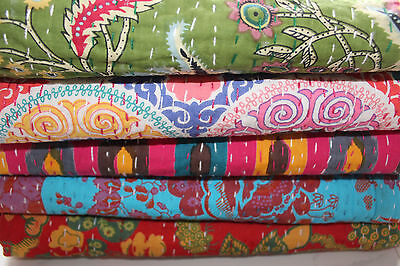 Indian Kantha Quilts Cotton Throw Gudari Ralli blankets Twin Wholesale Lot 5 Pcs