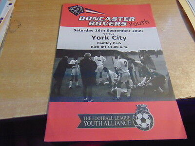 Football League Youth All 2000/1 Doncaster Rovers v York City Sep 16