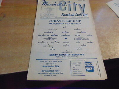 Reserves 1958/9 Manchester City v Derby County Dec 26