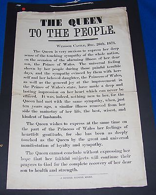 """Victorian Broadside or Poster """"The Queen to the People"""", 1871"""