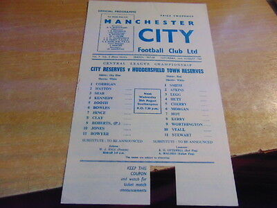 Reserves 1967/8  Manchester City v Huddersfield Town Aug 26