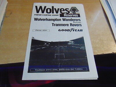 Reserves 1999/2000 Wolves v Tranmere Rovers Apr 27