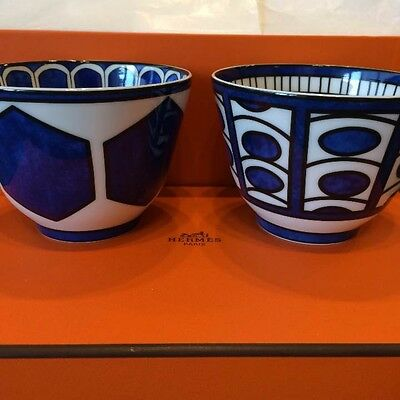 Hermes Blue dieir Bowl Cup Set Dish Soup NEW w/Box Tableware Japan Free Shipping