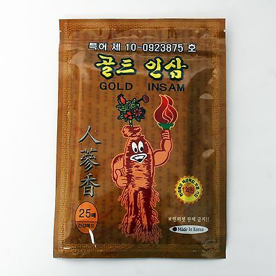 25 Pcs Gold Ginseng Pain Relief Patches Saponin Medicated Plaster Pads Patch