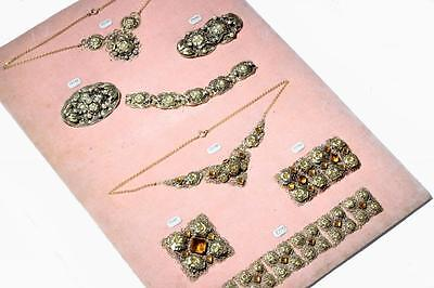 Antique Czech rare sample card faux pearl rhinestone Jewelry necklace bracelet