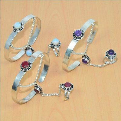 Wholesale 3Pc 925 Silver Plated Ruby Adjustable Bangle-Ring Bridal Hathphool Lot