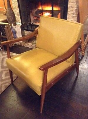 Vintage Mid-Century Danish Modern Lounge Chair Arms w/ Vinyl Cushion in Mustard