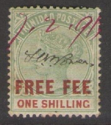 TRINIDAD: 1890 QV 1/- overprinted FREE FEE in red, Barefoot 3 FU