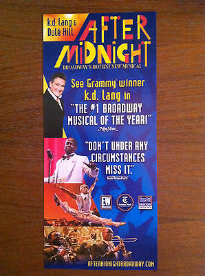 After Midnight K.D. Lang ad/flyer Broadway NYC Brooks Atkinson Theatre