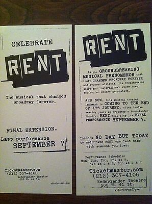 RENT former Broadway production ad/flyer Nederlander Theatre NYC closing ad