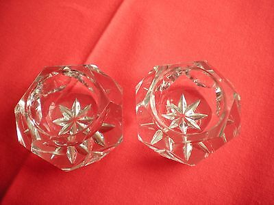 Pair of crystal tealight / candle holders