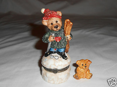 Boyds Bearware Pottery trinket box skiing bear with baby winter snow sweater