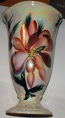 """Beautiful Vintage 8.5"""" Crown Devon Pottery Lustre Vase With Hand Painted Flower"""