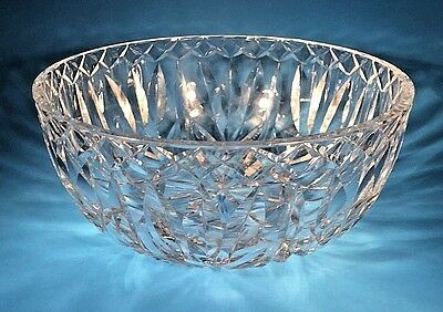 """Vintage Waterford Crystal Cut Large Bowl 8"""" Old Gothic Mark"""