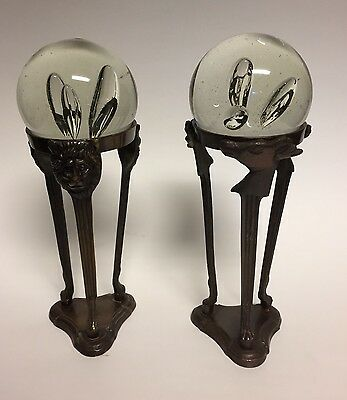 2 Hand Blown Art Glass Controlled Bubble Ball Paperweights on Metal Stands India