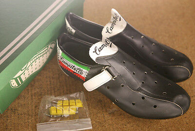 Vintage NOS NEW Campitello black perforated leather road cycling shoes L'eroica