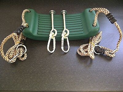 Green Garden Plastic Swing Seat With Ropes+2 Swing Hooks M12 'through' -New