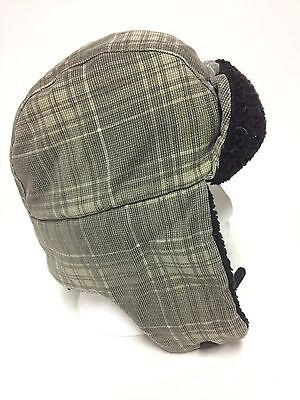 Roots Trapper Hat Green Plaid Youth L/XL Winter Toque Large Extra Large Kids
