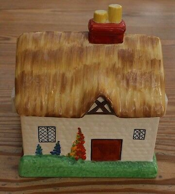 Vintage Art Deco Carlton Ware Thatched Cottage House Colourful Biscuit Barrel