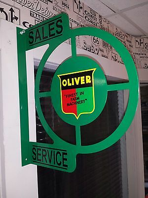 Oliver Tractor Nostalgic Wall Flange Advertising Sign 2 Sided