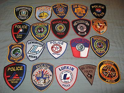 Lot Of 20 Police Sheriff Star City Town College Marshal Great State Texas Patch