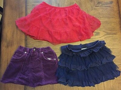 Lot Of 3 Girls 3t Skirts Red Purple Navy