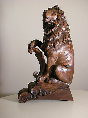 Vintage Wood Carved Lion Sculpture Decorative Fixture Stair Newel Post Finial