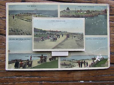 Old Irish Galway Postcard Galway Salthill Pull Out