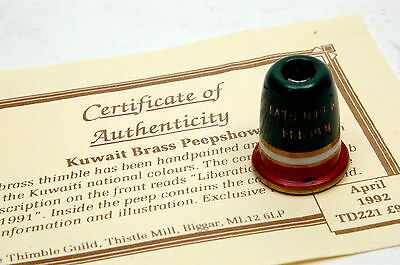Woodsetton H/Painted & Engraved Kuwait Brass Peepshow Metal Thimble + Cert B/74