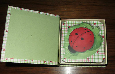 Set Of Six Cork Backed Lady Bug Coasters ; New In Container Box