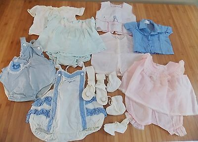 Vintage 1950 1960's baby girls clothing lot sun suit / rompers Diaper shirts ++
