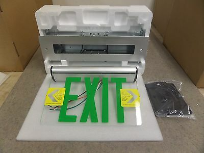 New McPHILBEN 44RLU1G Green Universal LED EDGE-LIT Emergency Exit Sign 120/277V