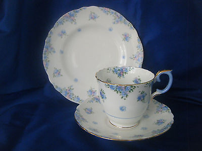 Crown Staffordshire China Trio With Blue And Pink Handpainted Flowers