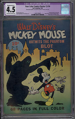 Four Color # 16 CGC 4.5 VG+ RESTORED 1st Mickey Mouse Comic Book 1941 SCARCE KEY
