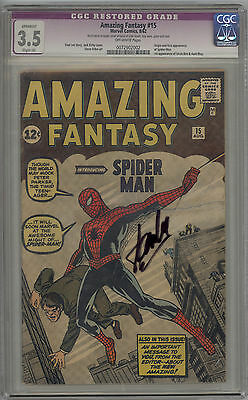 Amazing Fantasy # 15 CGC 3.5 VG- OW RESTORED 1st Appearance of Spider-Man 1962