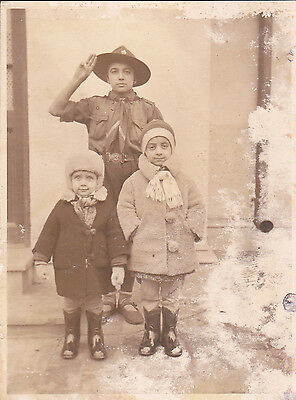 Very Rare Romania - Romanian Boy Scout And 2 Girls 1933 Photo