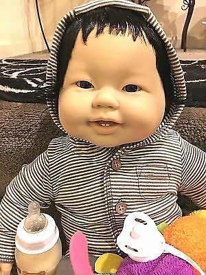 New 20 Inch Berenguer Asian-American Baby baby with shiny black hair