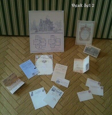 Victorian Dolls House Miniatures Repro 1/12th Hand Made Cert/Letter/Desk Papers