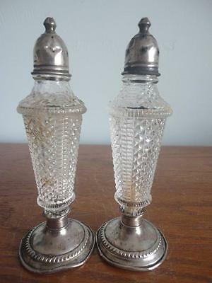 "Antique Crystal Cut Glass Diamond Shapes Salt & Pepper Shaker 5 1/2"" X 2"""