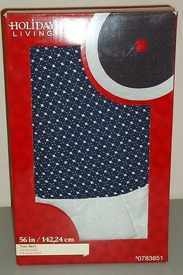 """Silver Sparkling Stars on Blue Field Christmas Tree Skirt  NEW in Box 56"""""""