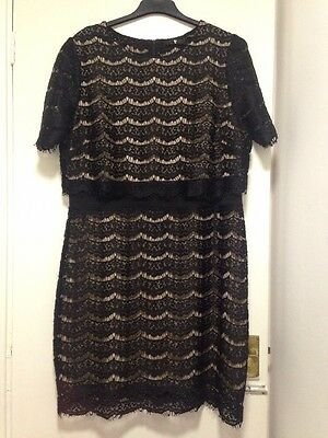 Ladies Lace Effect  Dress Black Size 20 By Very