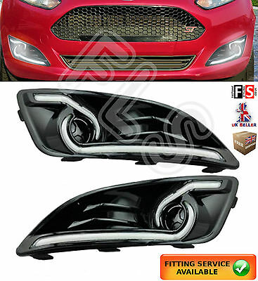 Ford Fiesta Led Drl Day Time Running Light Lamps 2013-2015 Drl Lights Kits