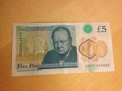 New Five Pound Note AA47