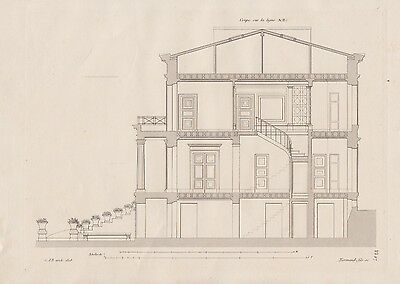 1837 Haus in PASSY Paris 3 Original Drucke Antique Prints Architektur