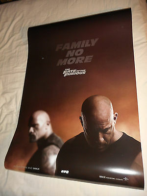 "Dwayne Johnson THE FATE OF THE FURIOUS movie poster DS 27""x40"" Vin Diesel Fast 8"