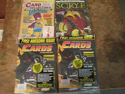 4 trading card game magazines with goodies Scrye & Cards Illustrated Collectors