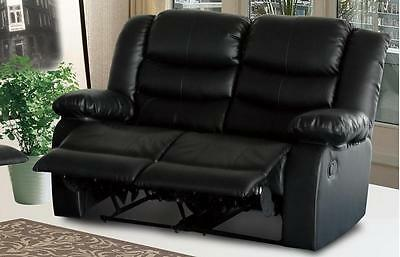 Milan 2 Seater Recliner Sofa in bonded leather Black -Lazy-Boy Style