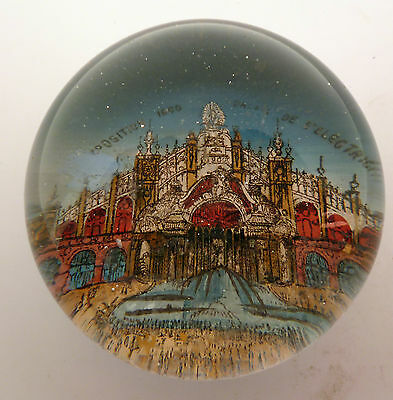 VICTORIAN GLASS PAPERWEIGHT OF THE EXPOSITION 1900 PALAIS d' ELECTRICITE